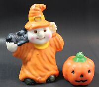 Halloween Candles Ghost with Cat and Pumpkin Vintage