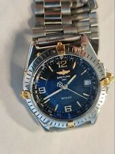 VINTAGE BREITLING WINGS AUTOMATIC DATE 18K GOLD & STAINLESS STEEL WORKS WELL