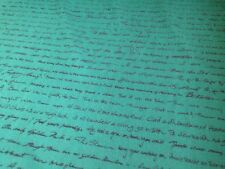 10m Green And Black Script Woollen Upholstery Fabric, Free P+P