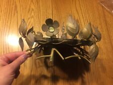 Partylite Golden Leaves 3 Wick Holder Hb3302U Gently used, centerpiece!