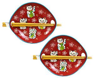 Pack Of 2 Red Maneki Neko Lucky Cats Appetizer Coupe Plates With Chopsticks Set