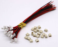 20 Sets Mini Micro SH 1.0 2-Pin JST Connector With Wires Cables 100MM