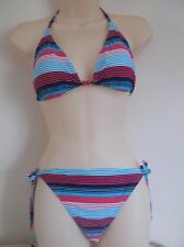 Strips Pink/Blue Lined Triangle Bikini Set Tie Sides/Straps swimwear swimsuit 12