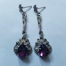 Vintage spectacular sterling silver 925 marcasite Amethyst  earrings dangle drop