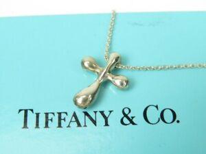 TIFFANY&Co.  Elsa Peretti Cross Pendant Necklace Silver Silver925 11024 verygood