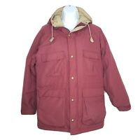 Vintage Woolrich Womens M Parka Dark Red Coat Hood Lined Jacket Snaps Zip USA