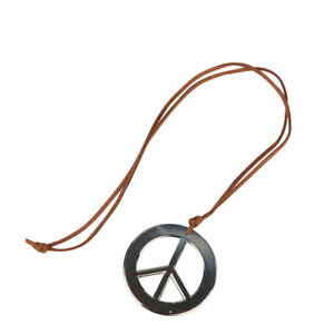 Hippie Peace Sign Medalion Silver 60s 70s Fancy Dress Accessory