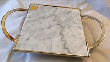 Silver Plate Marble Cheese Tray/ Board Footed with Handles By Leonard Italy