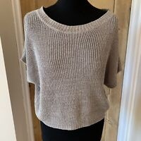 VINCE Silver Grey Knit Cropped Jumper Size Medium Short Sleeves Boxy