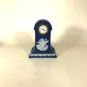 Rare 19th Century Antique Wedgwood Jasperware Dark Blue Jasper Dip Mantle Clock