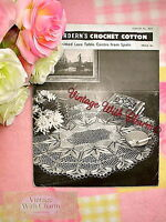 Vintage 50s Knitting Pattern Instructions Knitted Lace Table Cloth Centre Piece
