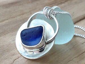Blue SEAHAM Multi Sea Glass Bezel Set Sterling Silver Necklace