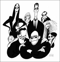 Al Hirschfeld's THE ADDAMS FAMILY Hand Signed Limited Edition Lithograph