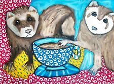 Ferret Drinking Coffee ACEO PRINT Mini Pet Art Card 2.5 X 3.5 KSAMS Collectible