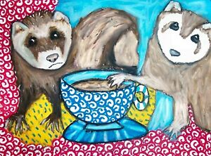 Ferret Drinking Coffee ACEO PRINT Mini Pet Art Card 2.5 X 3.5 KSAMS Collectible