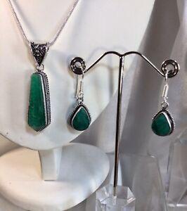 Emerald Pendant,Earrings, NEW