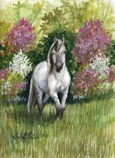 Tarpan Horse in Spring Original Watercolor LLMartin Free Shipping USA Painting