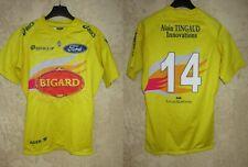 Maillot rugby SU AGEN porté n°14 rare jaune ASICS match worn shirt moulant XL