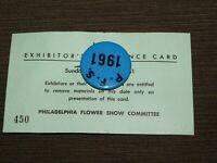 VINTAGE PINBACK BUTTON 1961 PHILADELPHIA FLOWER SHOW EXHIBITOR HORTICULTURAL SOC