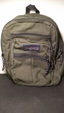 Vintage 90's JANSPORT USA Green Canvas Student Backpack Daypack Travel Carry On