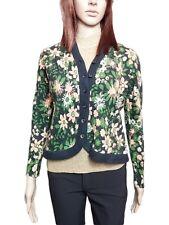 H Designer Ladies Vtg 90s Floral Cashmere Wool Thin Knit Cardigan Top sz S AO59