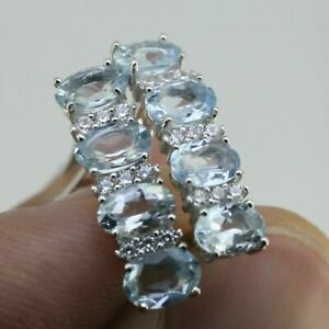 3 Ct Deep Blue Genuine Natural Aquamarine Earrings French Clip Sterling Silver