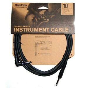 D'addario Classic Series 10ft Instrument Lead/ Cable Jack-Jack Right Angle