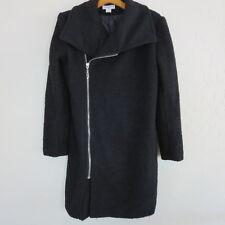 Glamorous Boucle Black Asym Zip Front Coat Nordstrom 3/4 length Black Sz L 6350