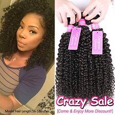 Brazilian Unprocessed Kinky Curly Weave Hair Extension Bundles - 3 Pcs 8 Inch