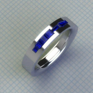 Men's Band Engagement Clssic Ring 2.38 Ct Princess Blue Sapphire 14K White Gold