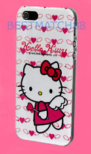 for iphone 5 5s hello kitty white hop pink red bow & heart angel  hard back case