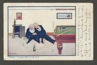 "[71532] 1908 POSTCARD ARTIST SIGNED BERNHARDT WALL, ""FROZE"" showing 2 DRUNK MEN"