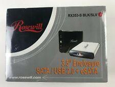 "Rosewill RX353-S 3.5"" HDD Enclosure SATA I/II to USB & eSATA w/ Cooling Fan SLV"