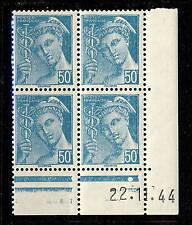 FRANCE - 1942 - N°549 50c MERCURE COIN DATÉ du 22.11.44 (1 point blanc) - TB
