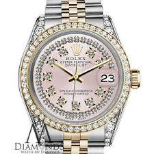Ladies Rolex Steel and Gold 36mm Datejust Watch Pink String Vintage Diamond Dial