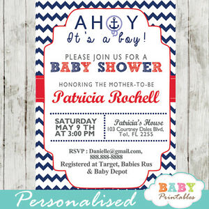 Nautical Anchor Baby Shower Invitation for Boys / Girls - Printable Digital File