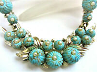 MARCEL BOUCHER FAUX TURQUOISE MELON CABOCHON W/SEED PEARL RHODIUM NECKLACE
