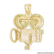 New 14k Yellow Gold Movie Camera Pendant