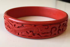 Dragon Phoenix Bangle Bracelet Superb Vintage Chinese Carved Cinnabar