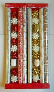 13pc Christmas Gift Wrap Pack 3 Rolls 8 Bows 2 Ribbon Red/Silver or Silver/Gold