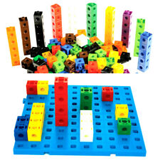 100 Pcs Multilink Linking Cubes Math Manipulative Counting Blocks & BOARD