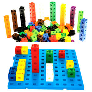 100 Pcs  Linking Cubes Math Manipulative Counting Blocks & BOARD