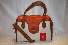 NEW! NWT! CHARLES JOURDAN Orange Nude Tan Leather JOY Satchel Crossbody Bag $475