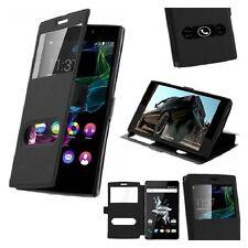 Housse Etui Double Fenetre Noir Black pour Huawei P8 Lite 2017