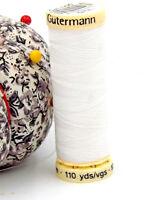 GUTERMANN -  Sew All Thread -100% Polyester- 100m - WHITE #800