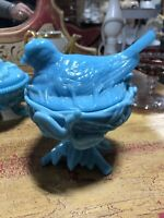 Westmoreland blue milk glass bird on nest covered trinket candy disha SEE ALL