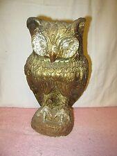 """Vintage Large Plaster Ceramic Hoot Owl Figurine Statue - 15.5"""" Tall"""