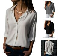 Women Chiffon Solid Long Sleeve Blouse Summer V-Neck Loose Tops T Shirt Pullover