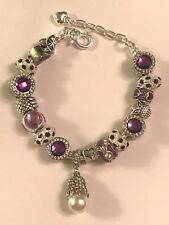❤️European CHARM BEADS BRACELET ~ Chic PURPLE Beads w/ Silver Plated Chain #1❤️