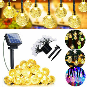 Solar Power Xmas 50/100LEDs Fairy Light String Crystal Ball Garden Outdoor Lamp